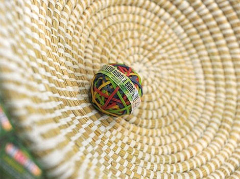 "A ball out of rubber bands made in Sri Lanka is on displayin Dortmund, western Germany, during the ""Fair 2011"" a exibition for fair trade."