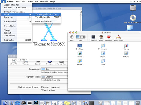 "Mac OS X v10.0 (Cheetah) - The desktop-oriented version followed in March 2001 sporting the new Aqua user interface. Since then, seven more distinct ""end-user"" and ""server"" versions have been released."