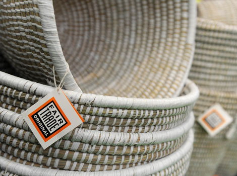 "A fair trade emblem can be seen on cotton baskets, made in India, in Dortmund, western Germany, during the ""Fair 2011"" a exibition for fair trade."