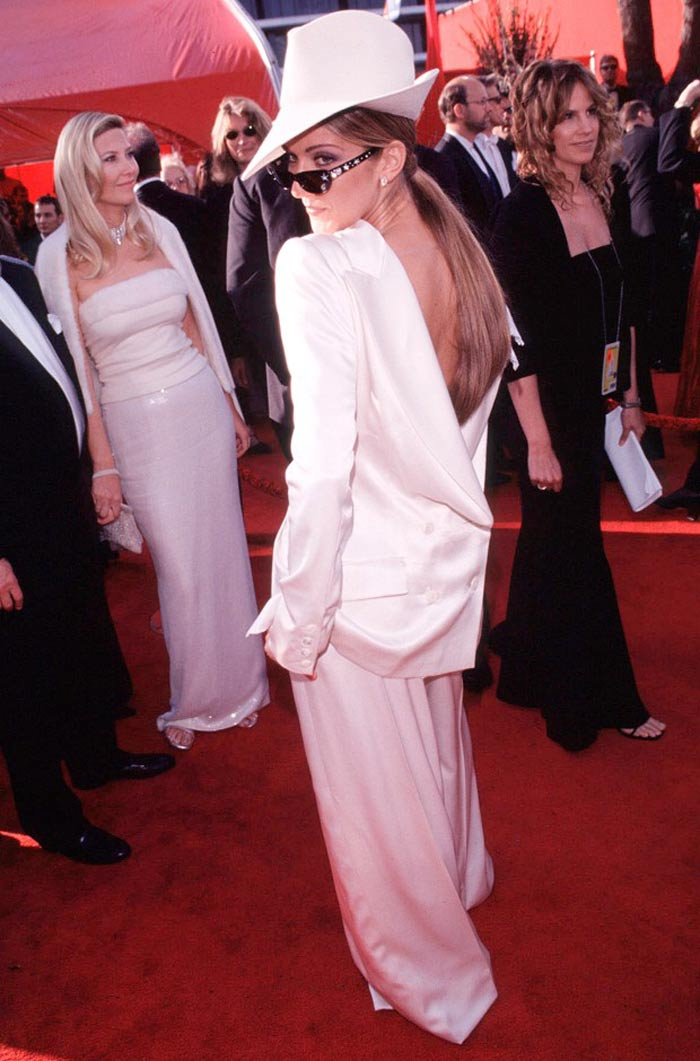 Celine Dion, 1999: The singer hit the red carpet in a tuxedo by John Galliano, worn back to front. Style savvy or style challenged?