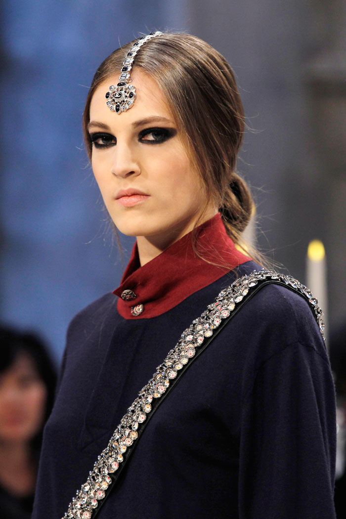 Embellishment was a leitmotif of the collection with jeweled headpieces taking pride of place.