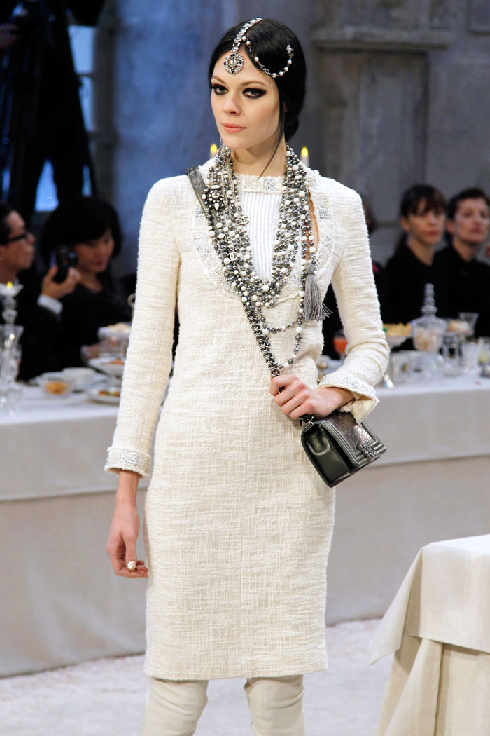 Typically Chanel sophistication with a simple silhouette, pale palette and accessory overload.