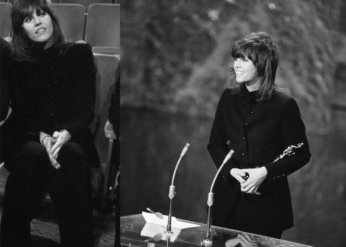 Jane Fonda, 1972: That year's Best Actress winner for Klute, Jane Fonda proved she was fashion force to reckon with in a black pant suit by Yves Saint Laurent.