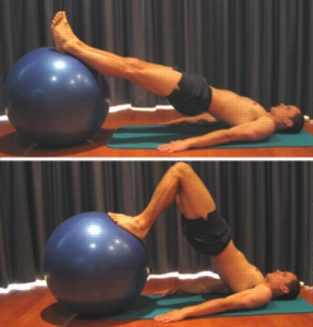 Hamstring curl, pelvic lift series on balance ball or bosu ball