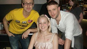 Before the transplant: Kirstie with Stuart and comedian Russell Howard on a good day