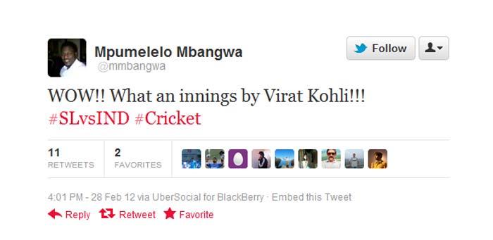 @mmbangwa: WOW!! What an innings by Virat Kohli!!! Tweeted by former Zimbabwe player Mpumelelo Mbangwa