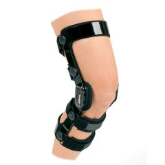 A knee brace is worn to protect and/or support the knee joint.