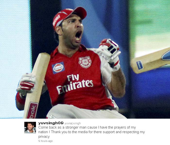 Yuvraj has promised that he would come back stronger than ever as he tweeted to thank his well-wishers.