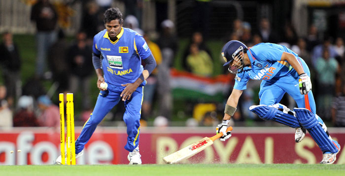 Gambhir was run out after his fifty but his replacement Suresh Raina proved even deadlier for the Lankans as he smashed 3 fours and a six on his way to a 24-ball 40.