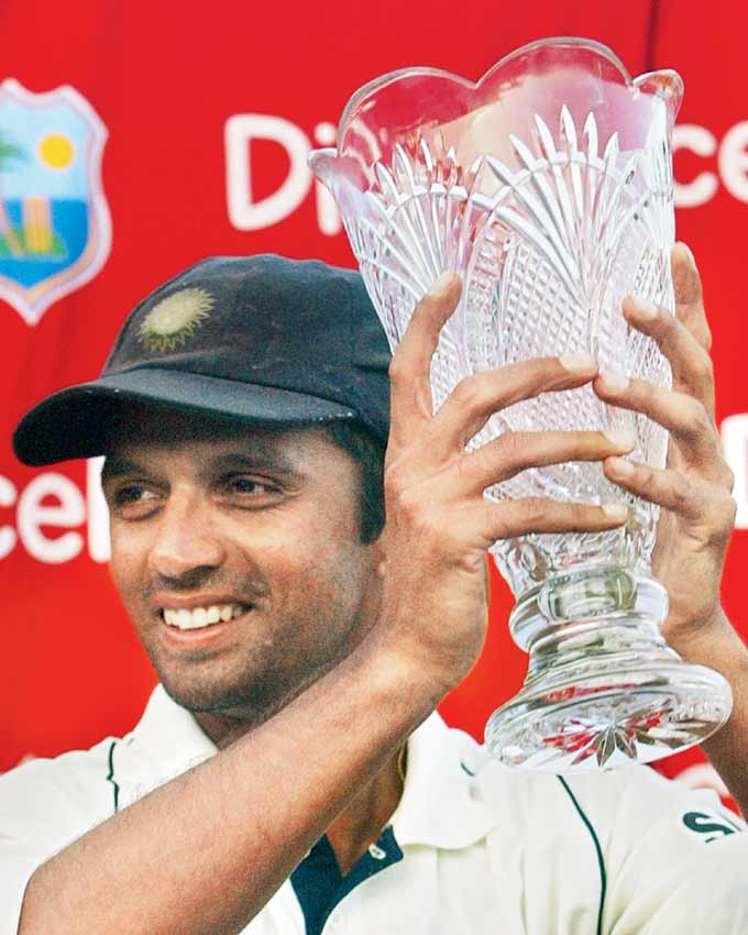 India captain Rahul Dravid smiles as he shows the winners trophy