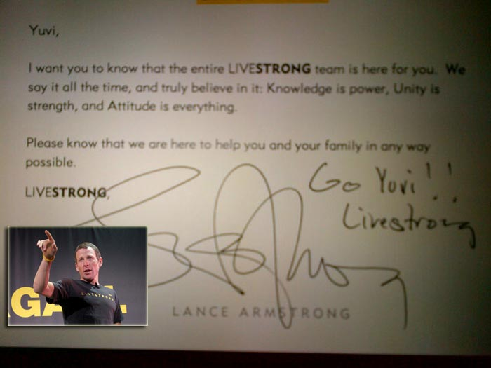 "Yuvraj was ecstatic when he received a message from legendary cyclist Lance Armstrong. Yuvraj tweeted on Tuesday: ""Message from @lancearmstrong makes me feel better ! Thank you lance means a lot hope we can meet!"" Yuvi has been reading Lance Armstrong's autobiography for inspiration as he too battled testicular cancer and emerged victorious."