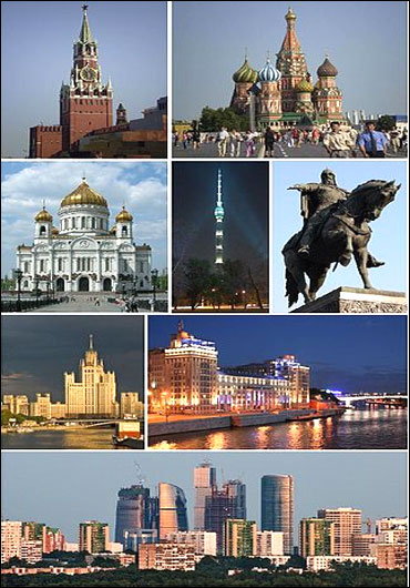 Top: Spasskaya Clocktower, St. Basil's Cathedral. Centre: Cathedral of Christ the Saviour, Ostankino Tower, Monument to Yuri Dolgoruki, Kotelnicheskaya Embankment Building, House on Embankment by Boris Iofan. Bottom: Moscow International Business Center.