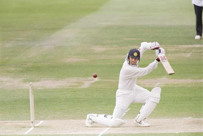 Rahul Dravid drives the ball during his Test debut against England at Lord's