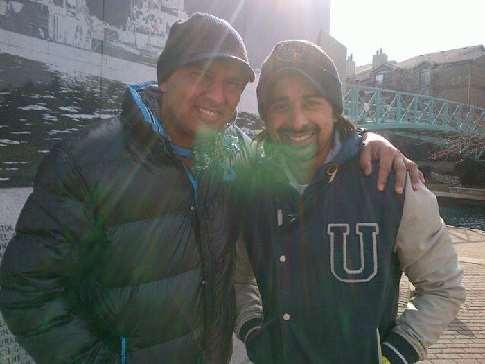 """On Saturday, MTV-VJ, actor and Yuvraj's good friend Ranvijay Singh went to meet the cricketer.  Yuvi tweeted: """"@RannvijaySingha came all the way to see me ! Means a lot !""""  They later watched comedy film Andaz Apna Apna together."""