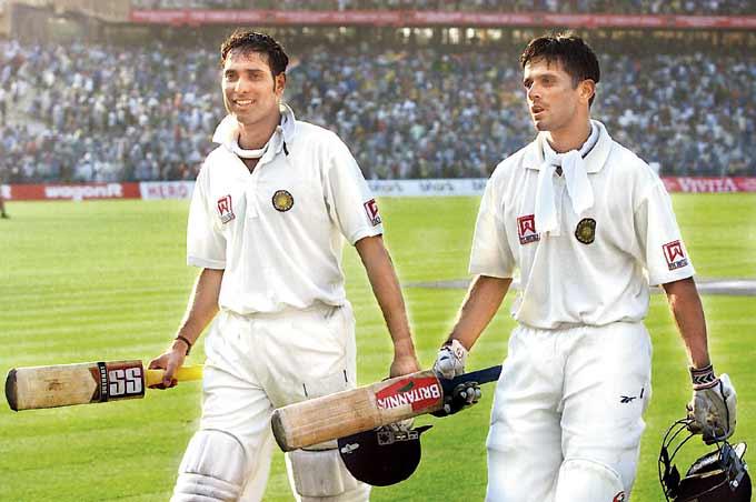V V S Laxman (left) and Rahul Dravid