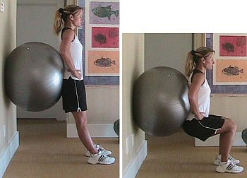 Wall Squats with a balance ball behind the back