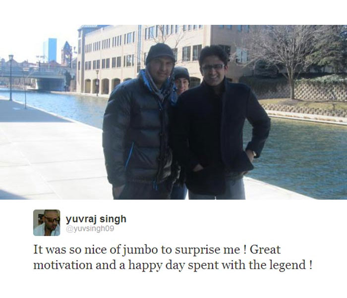 """Yuvraj Singh, who is undergoing treatment for rare germ cell cancer in Boston, got a pleasant surprise when former India captain and leg-spin legend Anil Kumble went to meet him.  Yuvraj, who is away from the cricket field but very much active on Twitter, posted a pic and said: """"It was so nice of jumbo to surprise me ! Great motivation and a happy day spent with the legend!"""""""