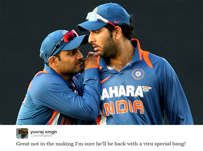 Yuvraj Singh, tweeted in support of the out-of-form Virender Sehwag saying that the swashbuckling opener was already a great of Indian cricket and expressed confidence in his ability to answer all the criticism with the bat.