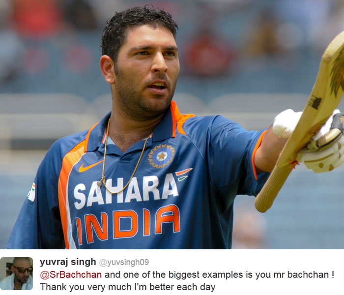"While Yuvraj is undergoing chemotherapy, Big B underwent a couple of abdominal surgeries.  On February 16, both the stalwarts wished each other quick recovery on Twitter.  Yuvraj tweeted: ""Out of suffering have emerged the strongest souls. The most massive characters are seamed with scars..."""