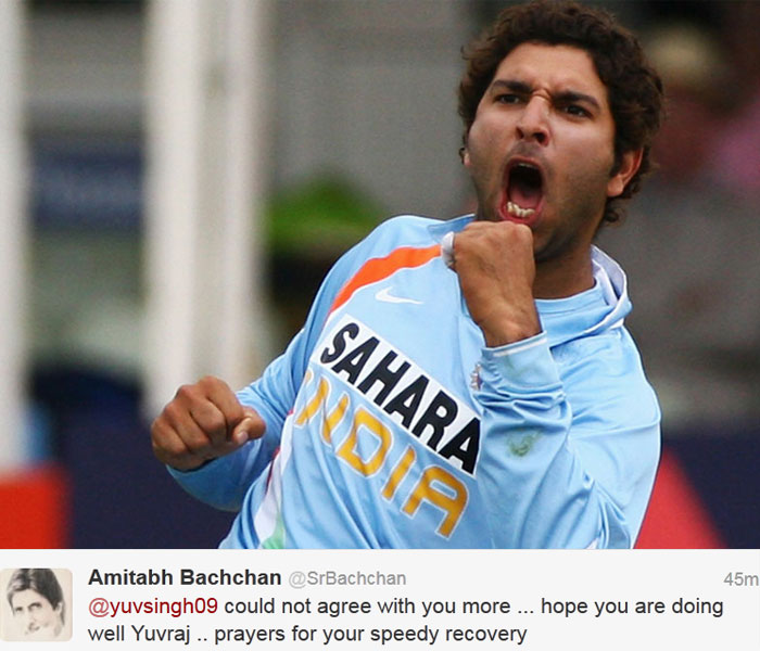 "Mr Bachchan replied: @yuvsingh09 could not agree with you more ... hope you are doing well Yuvraj .. prayers for your speedy recovery.  Yuvi thanked him for his wishes and said: ""and one of the biggest examples is you mr bachchan ! Thank you very much I'm better each day."""