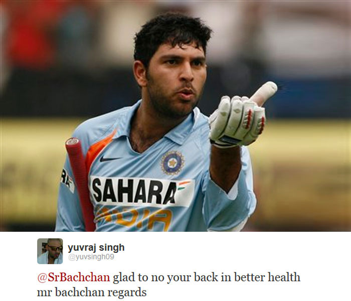 Yuvraj Singh tweeted to express his greetings to film star Amitabh Bachchan who was finally discharged after an abdominal surgery.